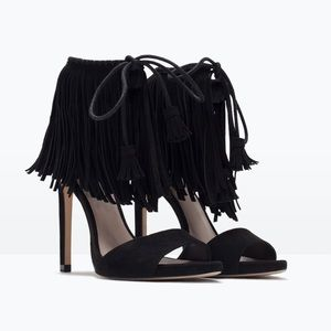 Zara Fringe High Heel Sandals